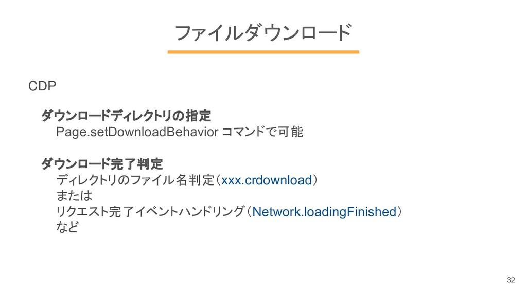 ファイルダウンロード CDP ダウンロードディレクトリの指定 Page.setDownload...