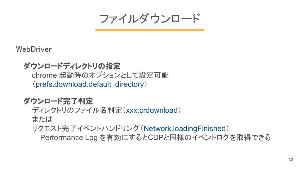 ファイルダウンロード WebDriver ダウンロードディレクトリの指定 chrome 起動時...