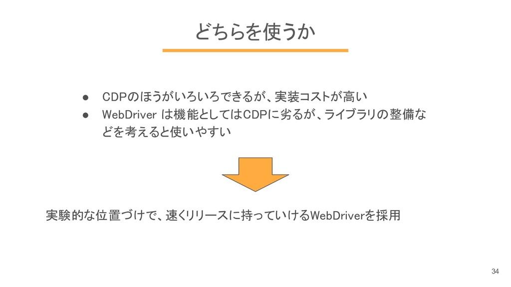 どちらを使うか ● CDPのほうがいろいろできるが、実装コストが高い ● WebDriver ...