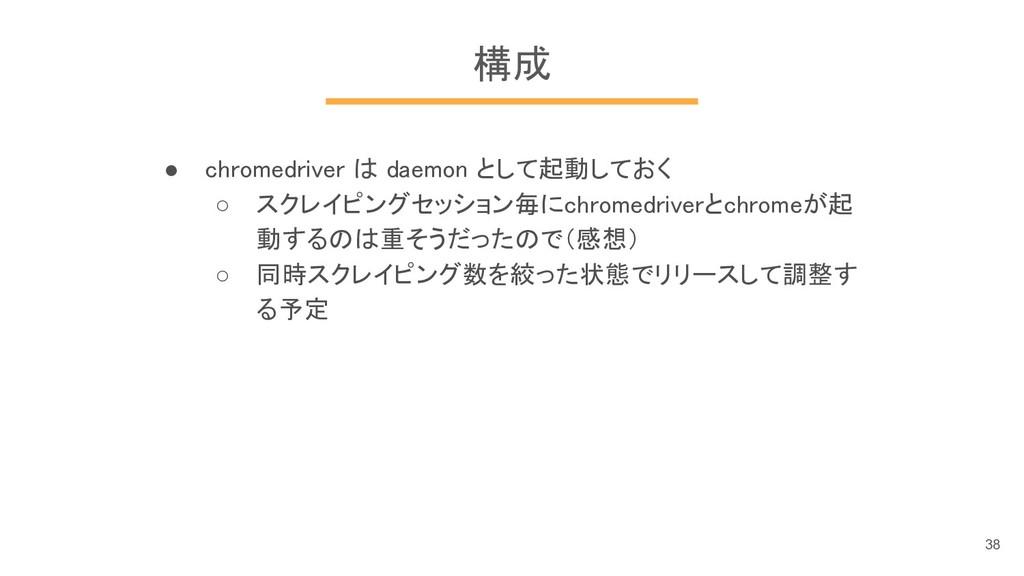 構成 ● chromedriver は daemon として起動しておく ○ スクレイピングセ...