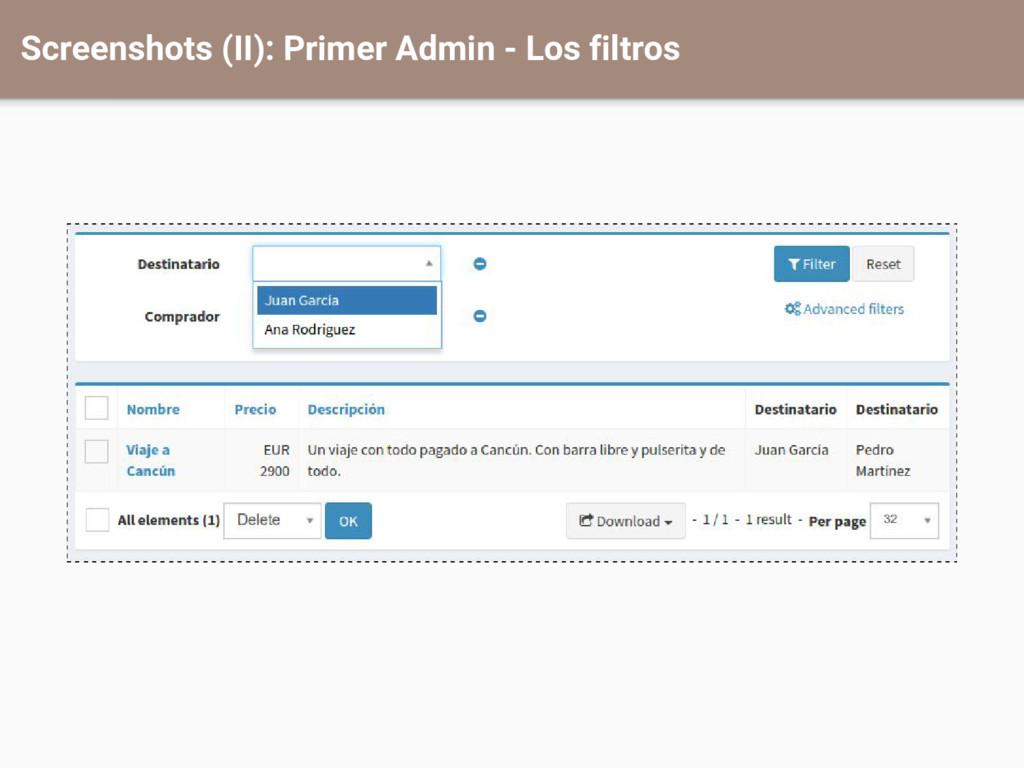 Screenshots (II): Primer Admin - Los filtros