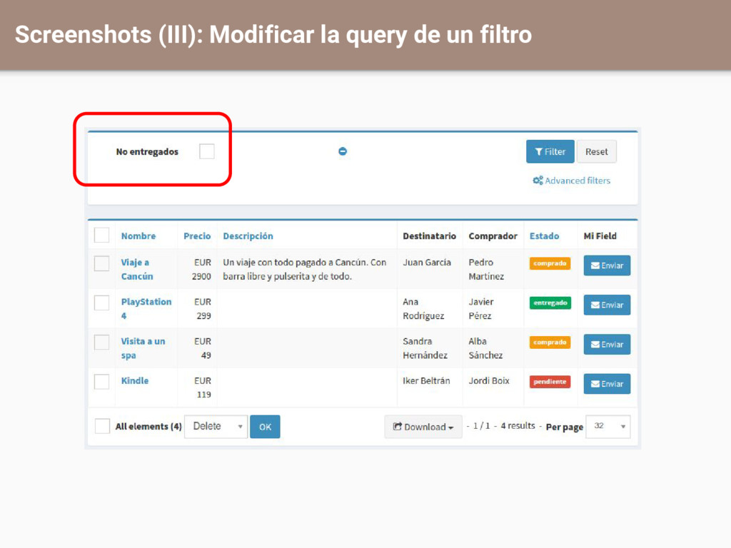 Screenshots (III): Modificar la query de un fil...