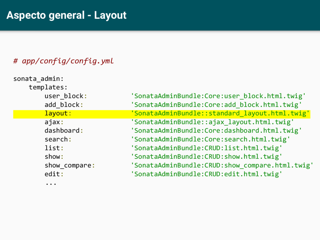 Aspecto general - Layout # app/config/config.ym...