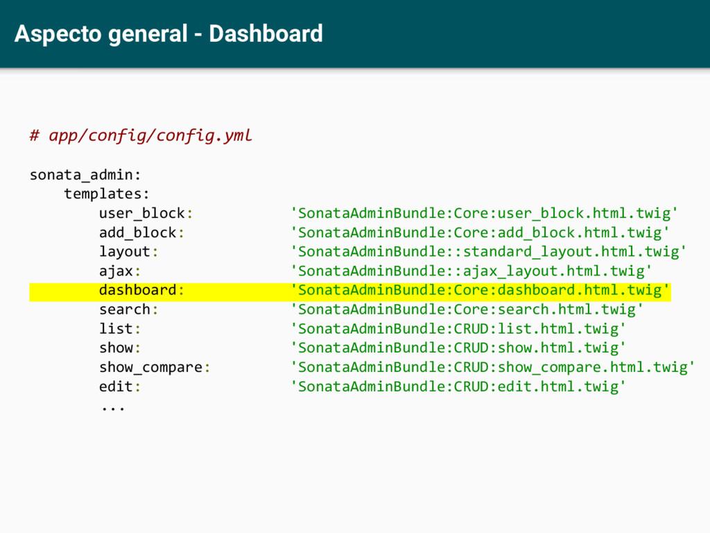 Aspecto general - Dashboard # app/config/config...