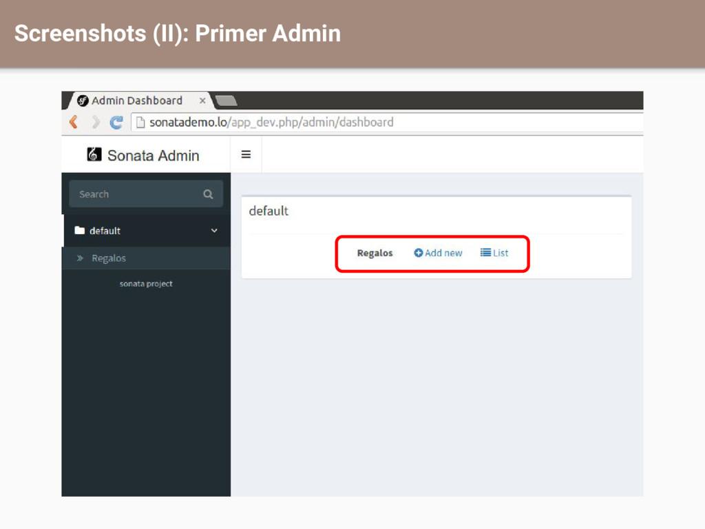Screenshots (II): Primer Admin
