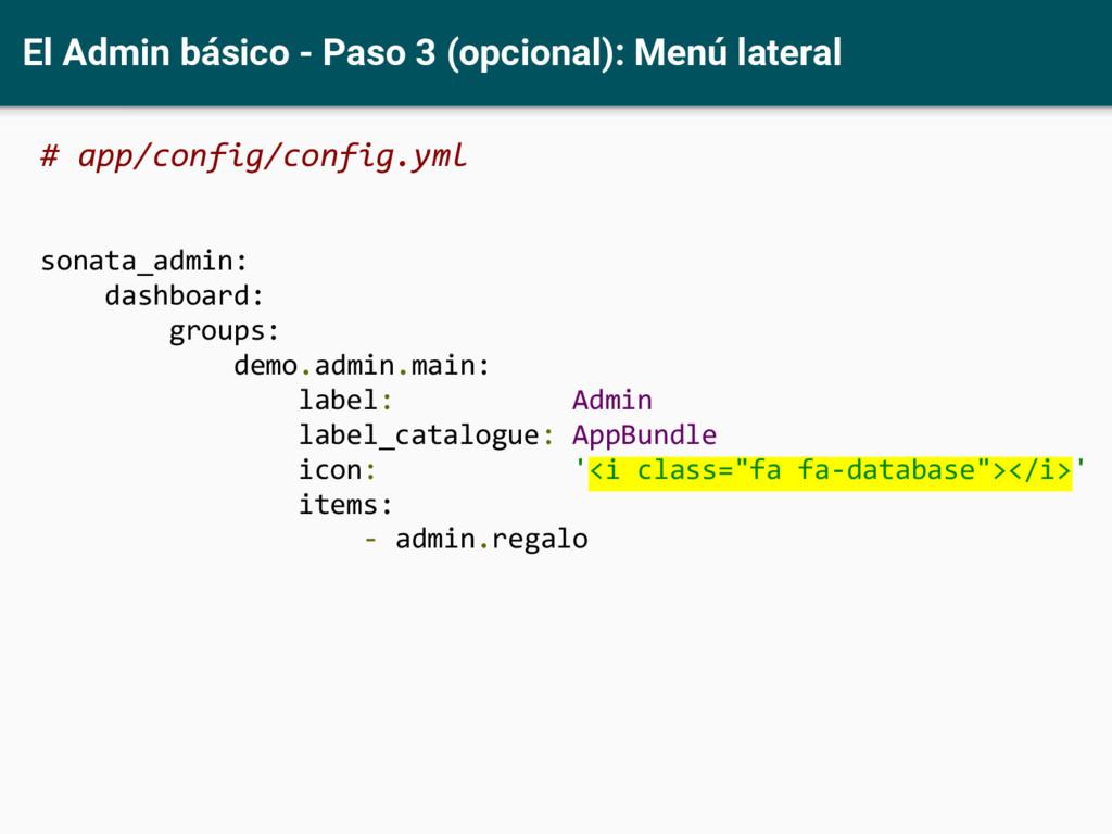 El Admin básico - Paso 3 (opcional): Menú later...