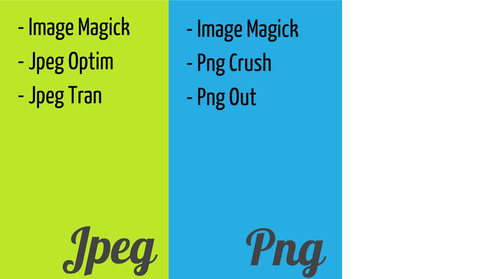 - Image Magick - Jpeg Optim - Jpeg Tran Jpeg - ...