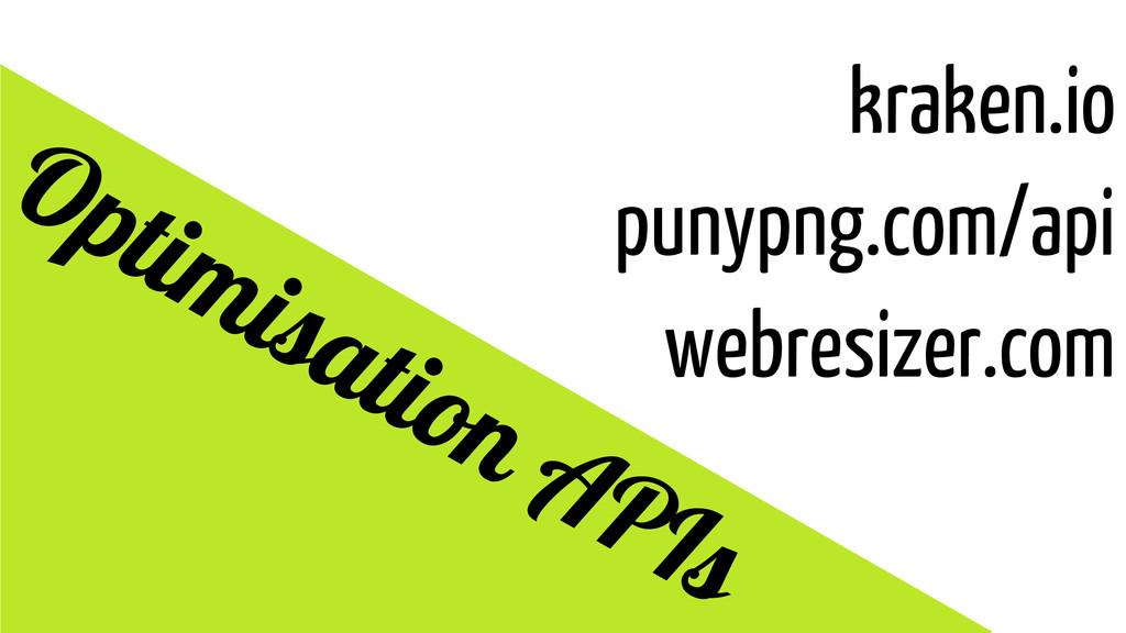 kraken.io punypng.com/api webresizer.com Optimi...
