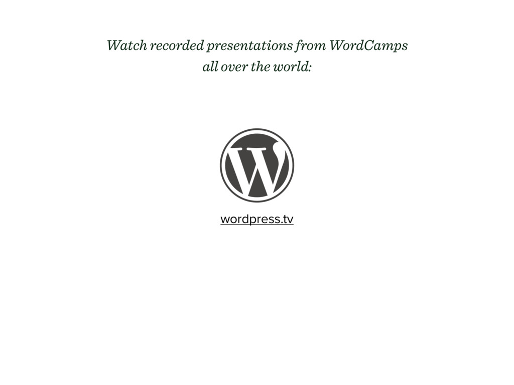 wordpress.tv Watch recorded presentations from ...