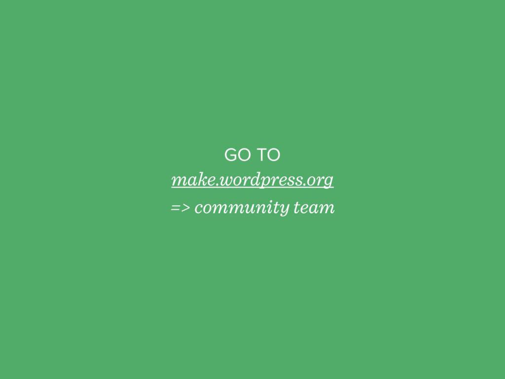 GO TO make.wordpress.org => community team