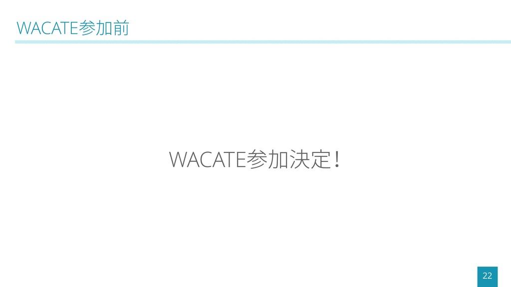 WACATE参加前 22 WACATE参加決定!