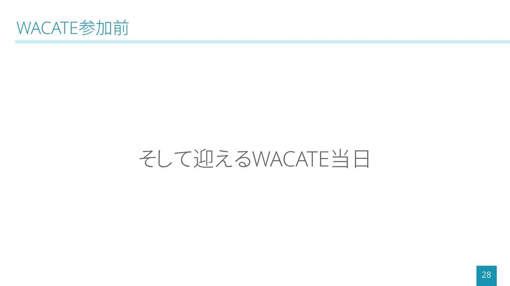 WACATE参加前 28 そして迎えるWACATE当日