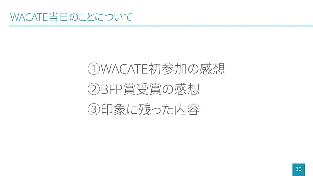 WACATE当日のことについて 30 ①WACATE初参加の感想 ②BFP賞受賞の感想 ③印象...