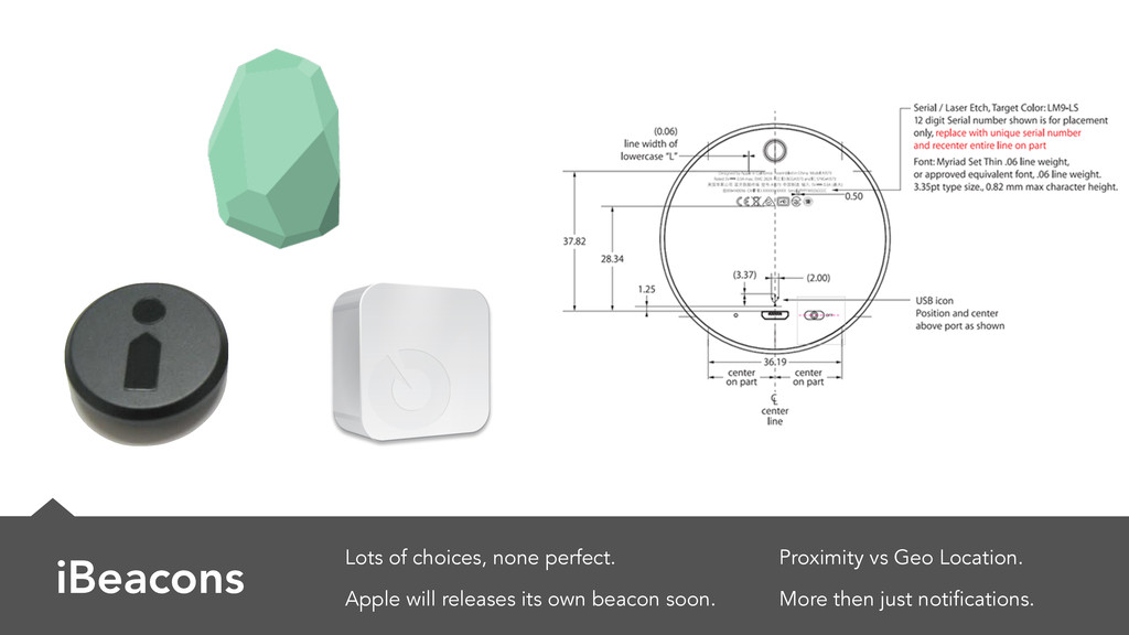 iBeacons Lots of choices, none perfect. Apple w...