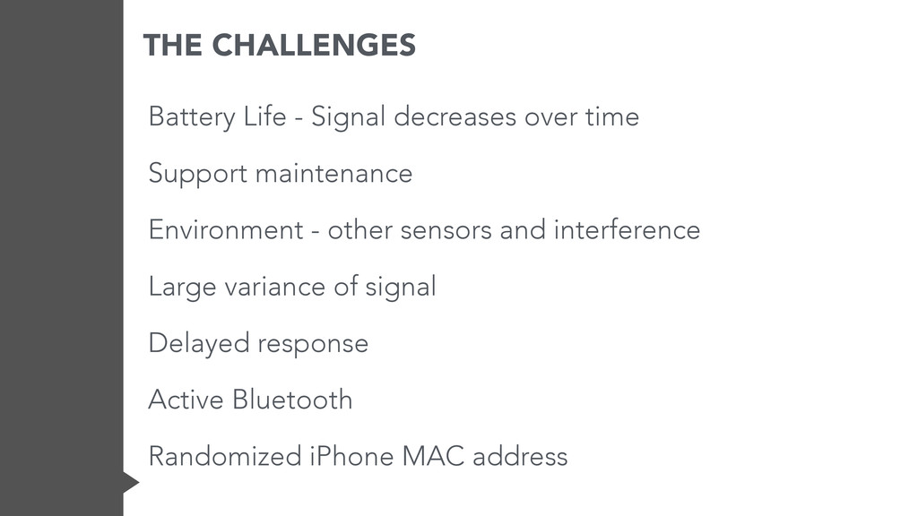 THE CHALLENGES Battery Life - Signal decreases ...