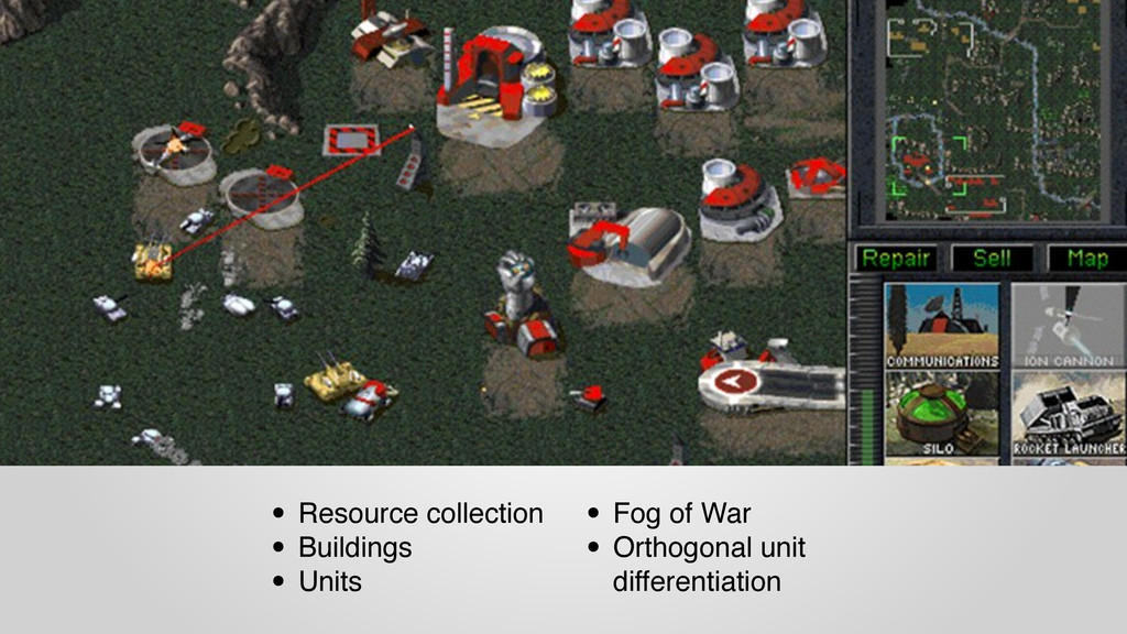 • Resource collection • Buildings • Units • Fog...