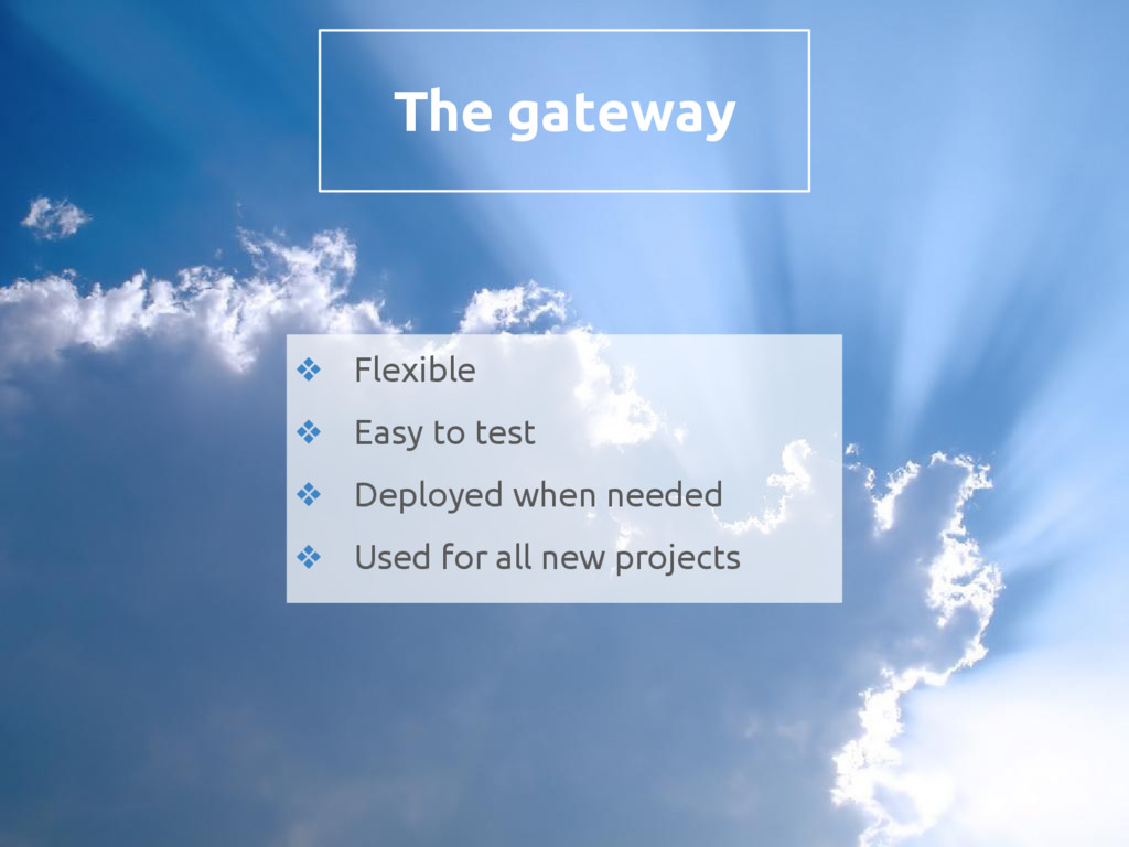 The gateway ❖ Flexible ❖ Easy to test ❖ Deploye...
