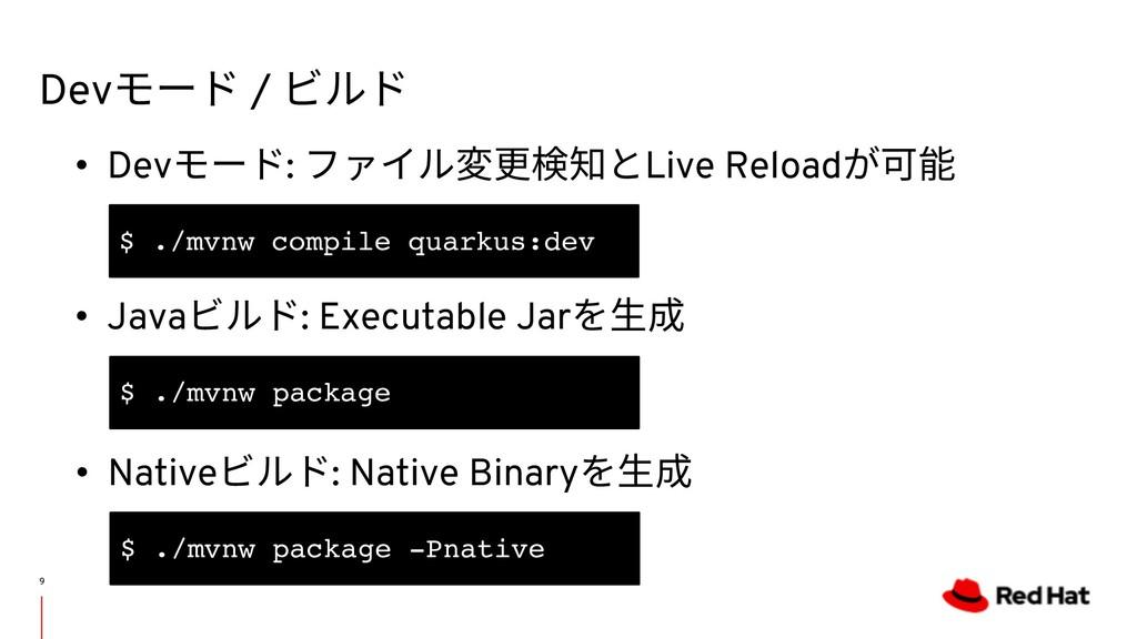 Devモード / ビルド 9 • Devモード: ファイル変更検知とLive Reloadが可...