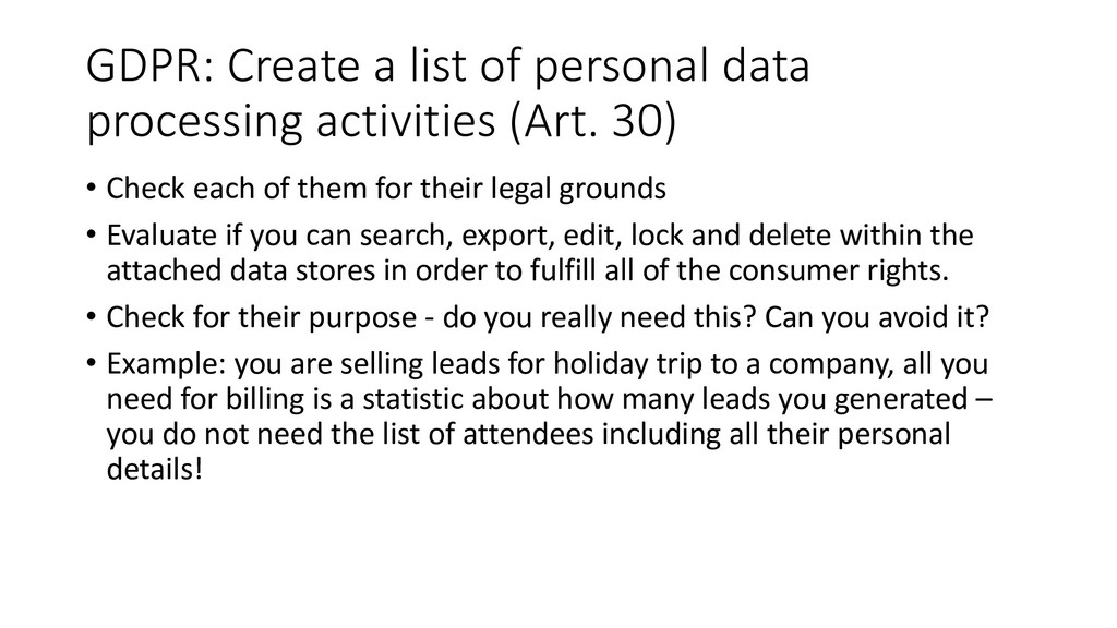 GDPR: Create a list of personal data processing...
