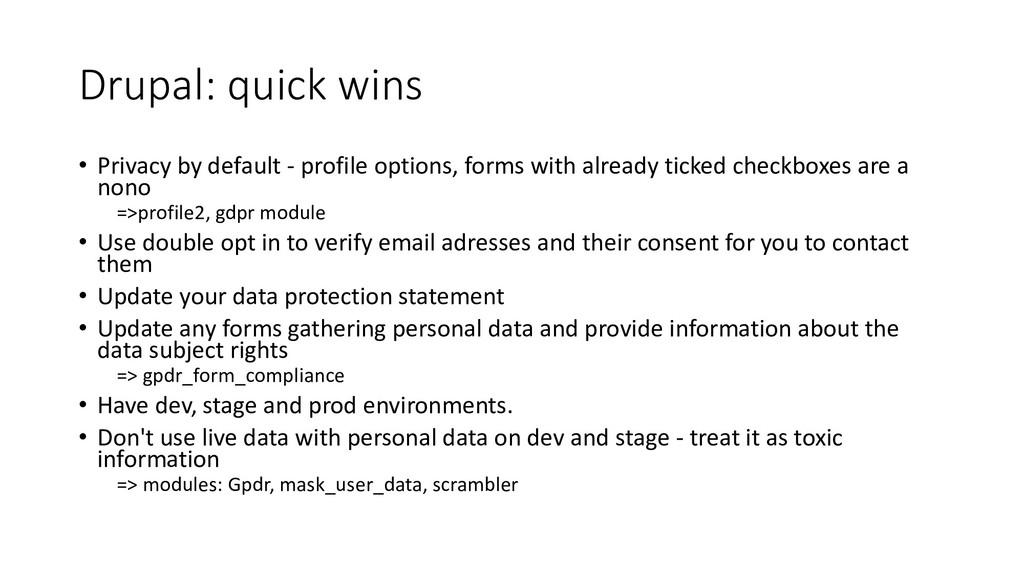 Drupal: quick wins • Privacy by default - profi...
