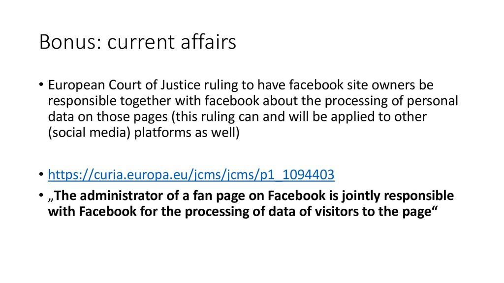 Bonus: current affairs • European Court of Just...