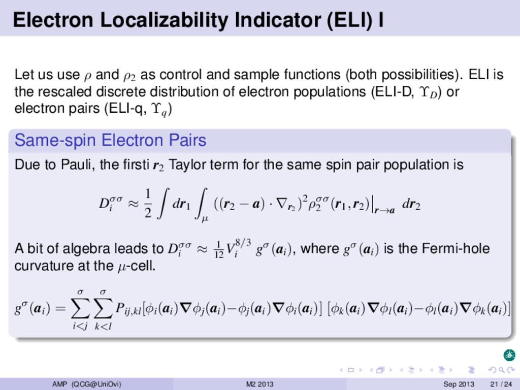 Electron Localizability Indicator (ELI) I Let u...