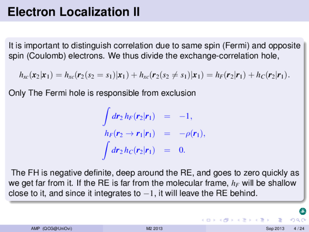 Electron Localization II It is important to dis...