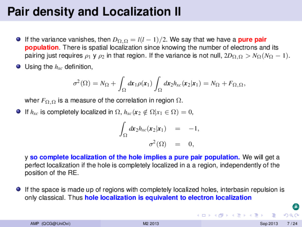 Pair density and Localization II If the varianc...
