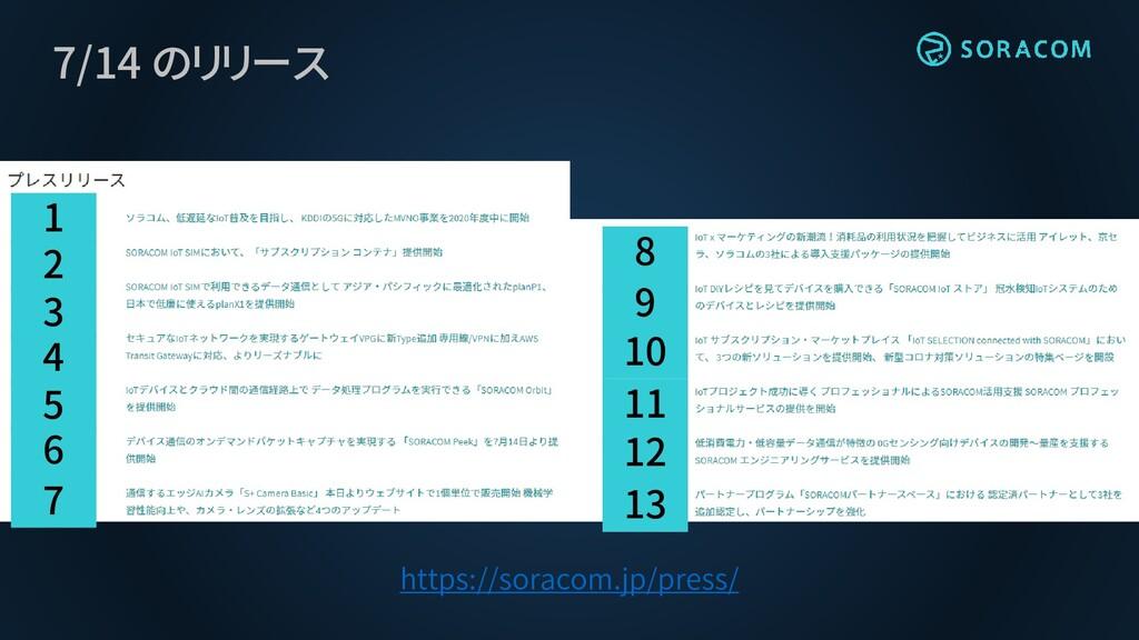 7/14 のリリース https://soracom.jp/press/ 13 12 11 1...