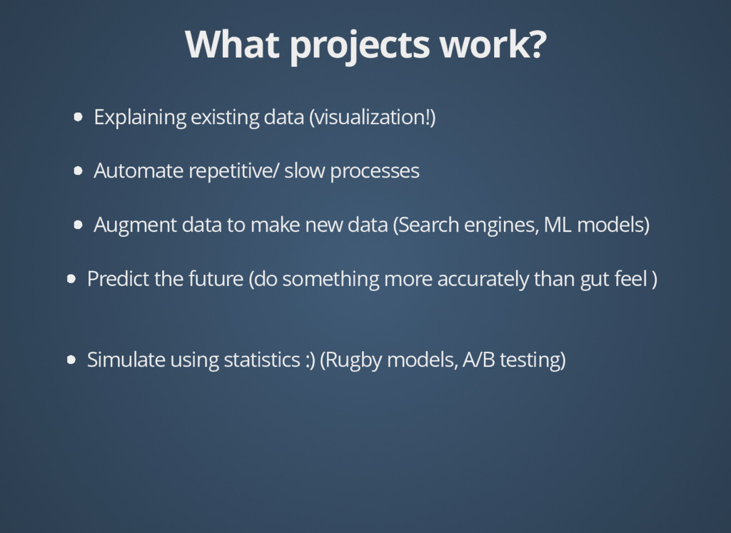 What projects work? What projects work? Explain...