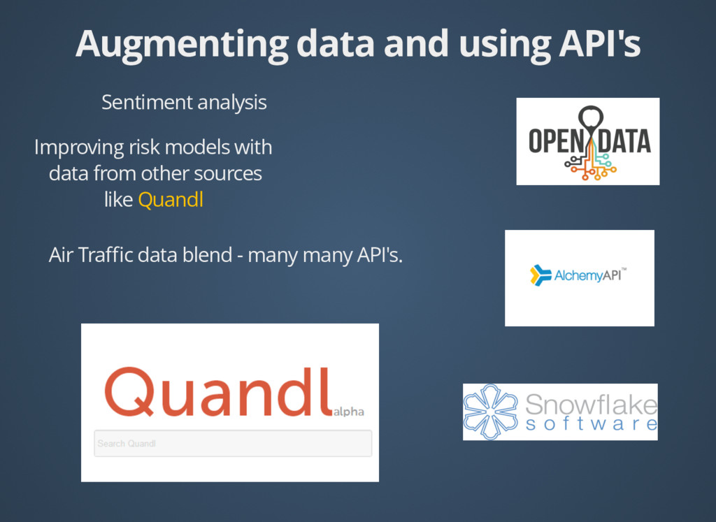 Augmenting data and using API's Augmenting data...