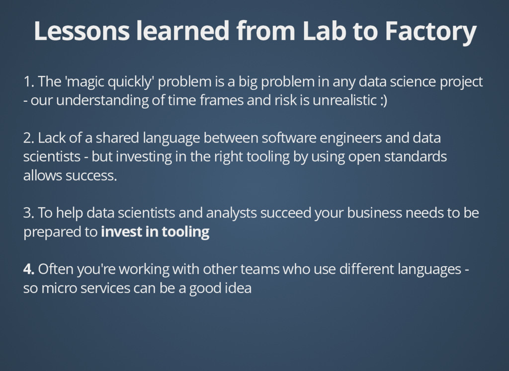 Lessons learned from Lab to Factory Lessons lea...