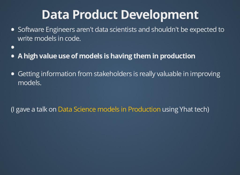 Data Product Development Data Product Developme...