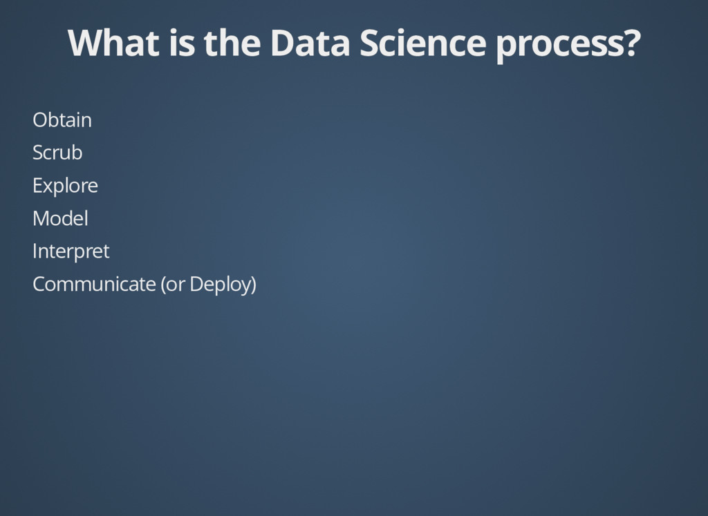 What is the Data Science process? What is the D...