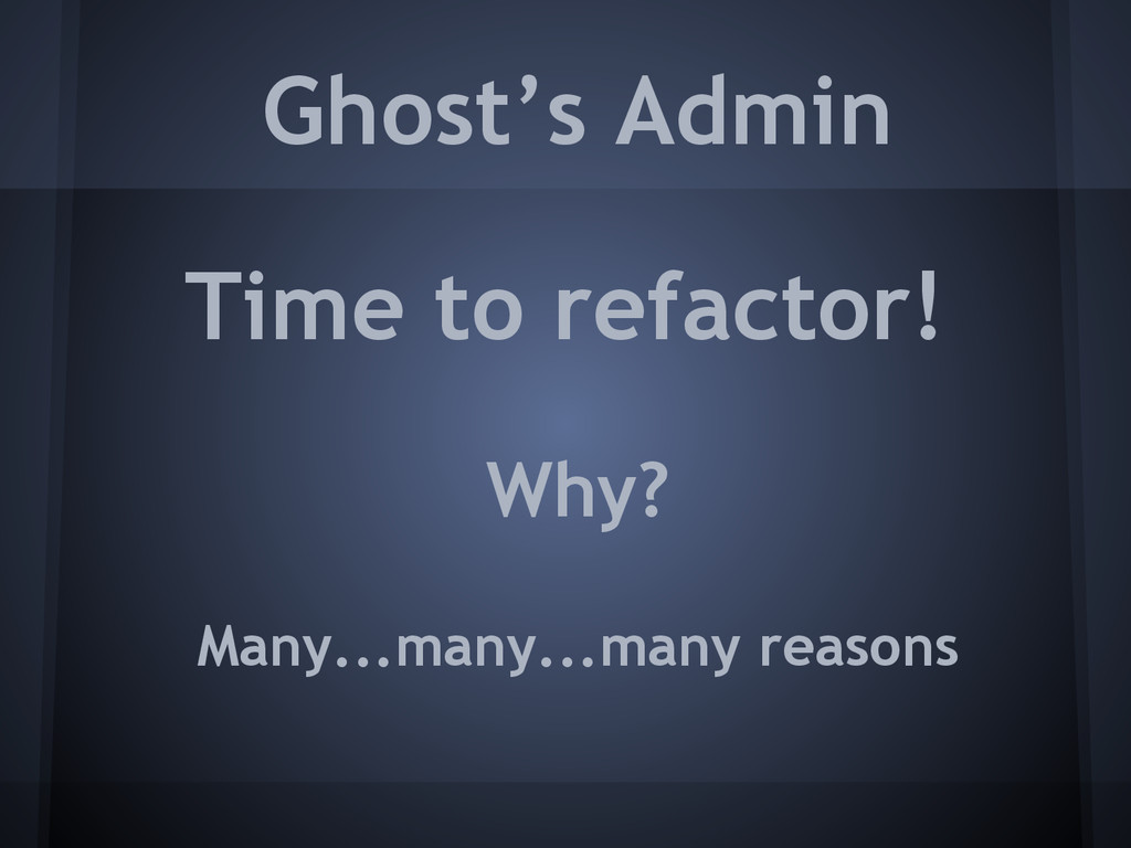 Ghost's Admin Time to refactor! Many...many...m...