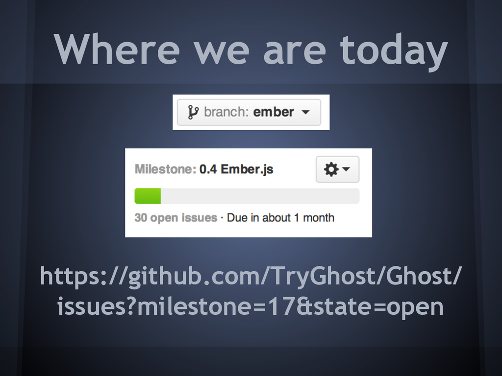Where we are today https://github.com/TryGhost/...