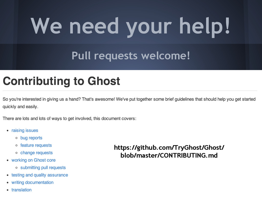 We need your help! Pull requests welcome! https...