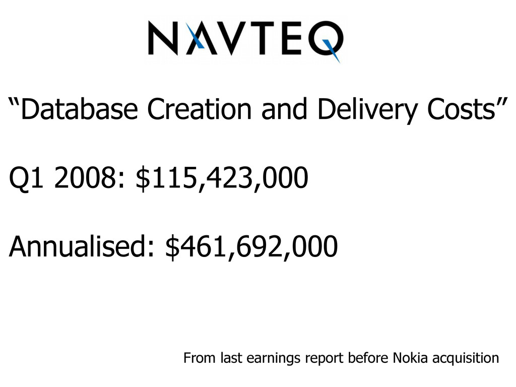 """""""Database Creation and Delivery Costs"""" Q1 2008:..."""