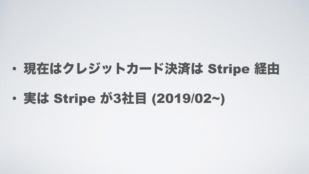 • ݱࡏΫϨδοτΧʔυܾࡁ Stripe ܦ༝ • ࣮ Stripe ͕3ࣾ (20...