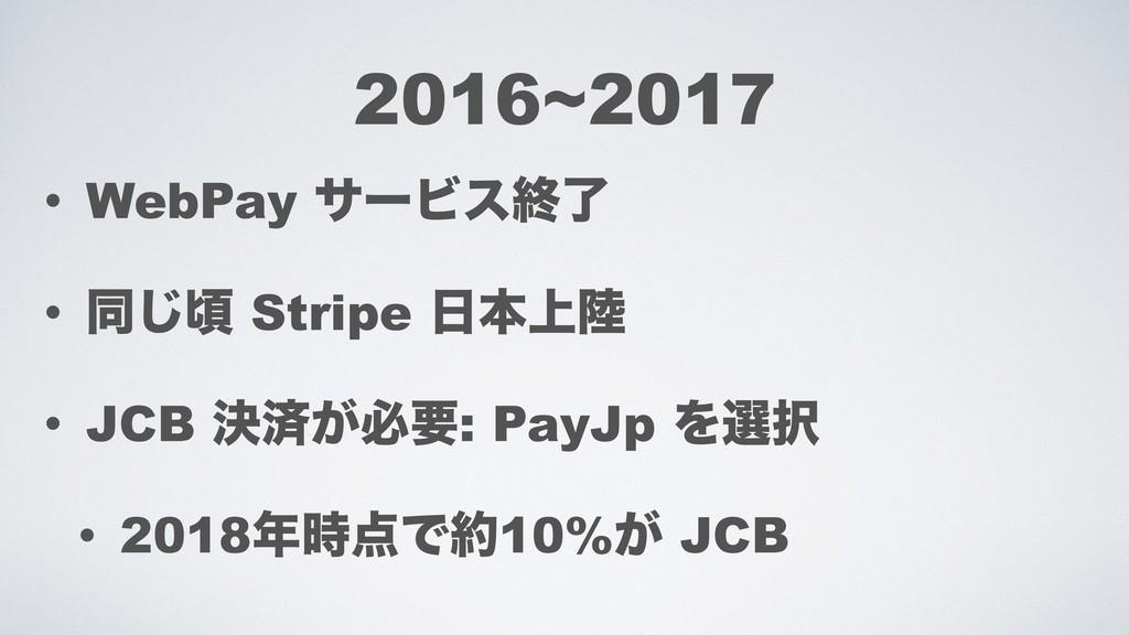 • WebPay αʔϏεऴྃ • ಉ͡ࠒ Stripe ຊ্ • JCB ܾࡁ͕ඞཁ: ...
