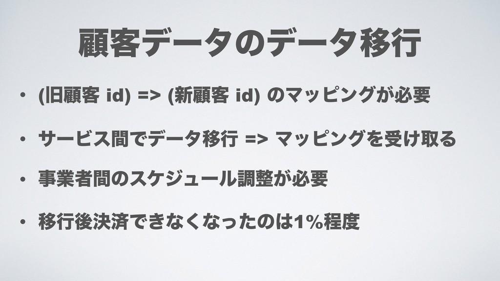 • (چސ٬ id) => (৽ސ٬ id) ͷϚοϐϯά͕ඞཁ • αʔϏεؒͰσʔλҠߦ ...