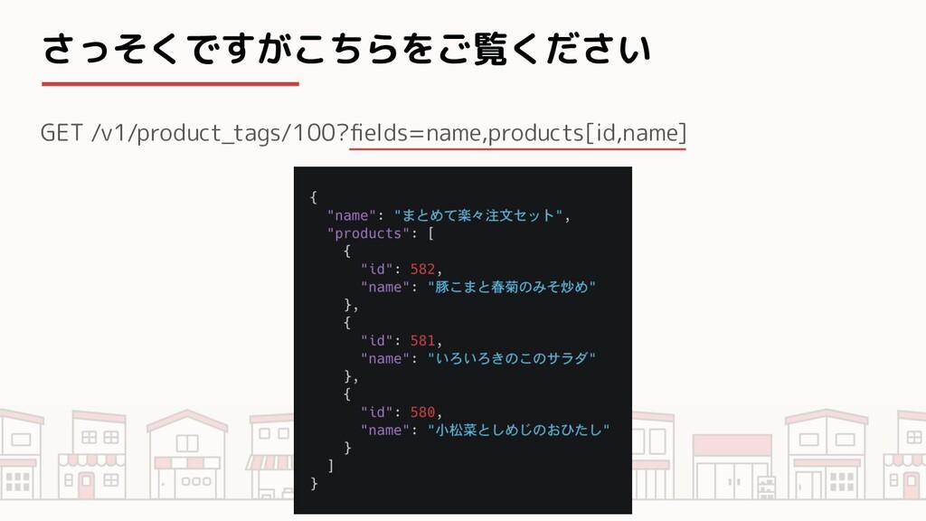 さっそくですがこちらをご覧ください GET /v1/product_tags/100?field...