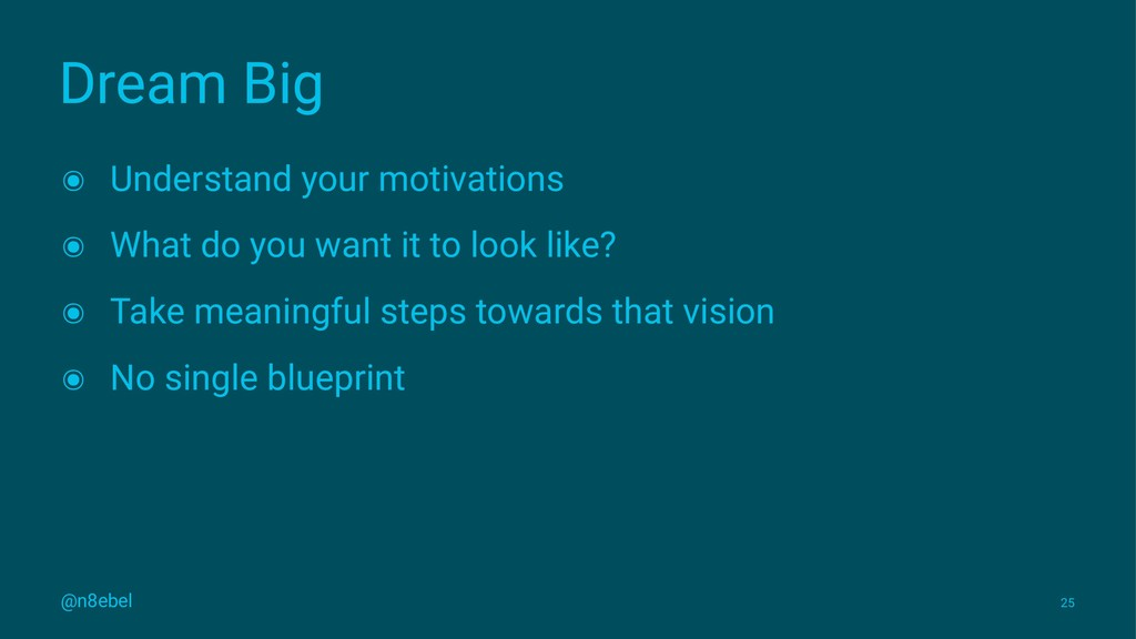 Dream Big ๏ Understand your motivations ๏ What ...