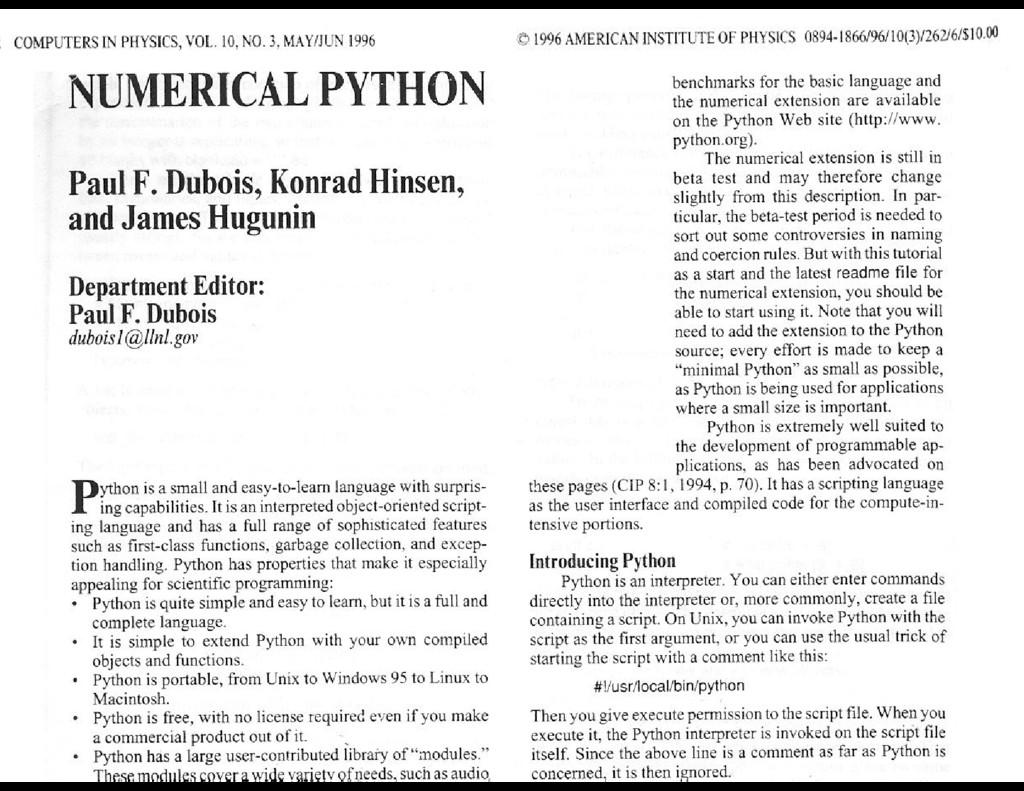 NUMERICAL PYTHON Paul F. Dubois, Konrad Hinsen,...