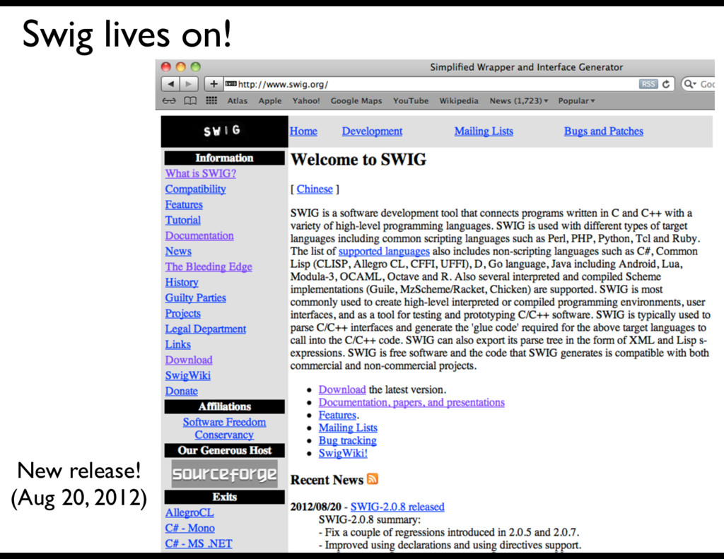 Swig lives on! New release! (Aug 20, 2012)
