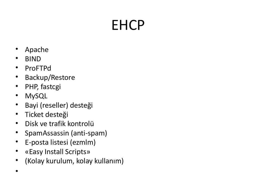 EHCP • Apache • BIND • ProFTPd • Backup/Restore...