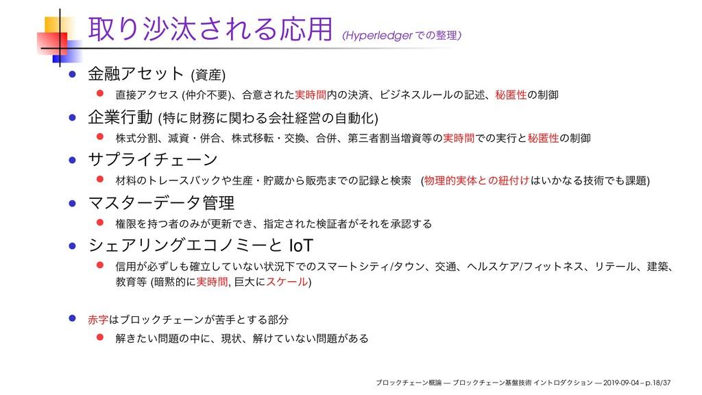 औΓࠫଡ͞ΕΔԠ༻ (Hyperledger Ͱͷཧ) ۚ༥Ξηοτ () ΞΫηε...