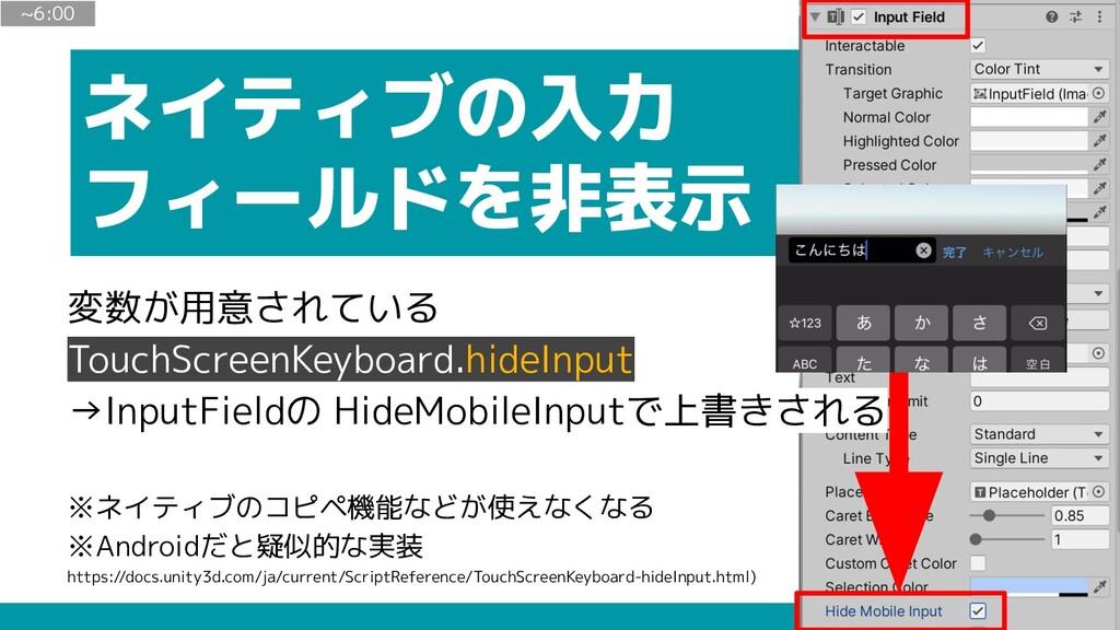 ネイティブの入力 フィールドを非表示 ~6:00 変数が用意されている TouchScreen...