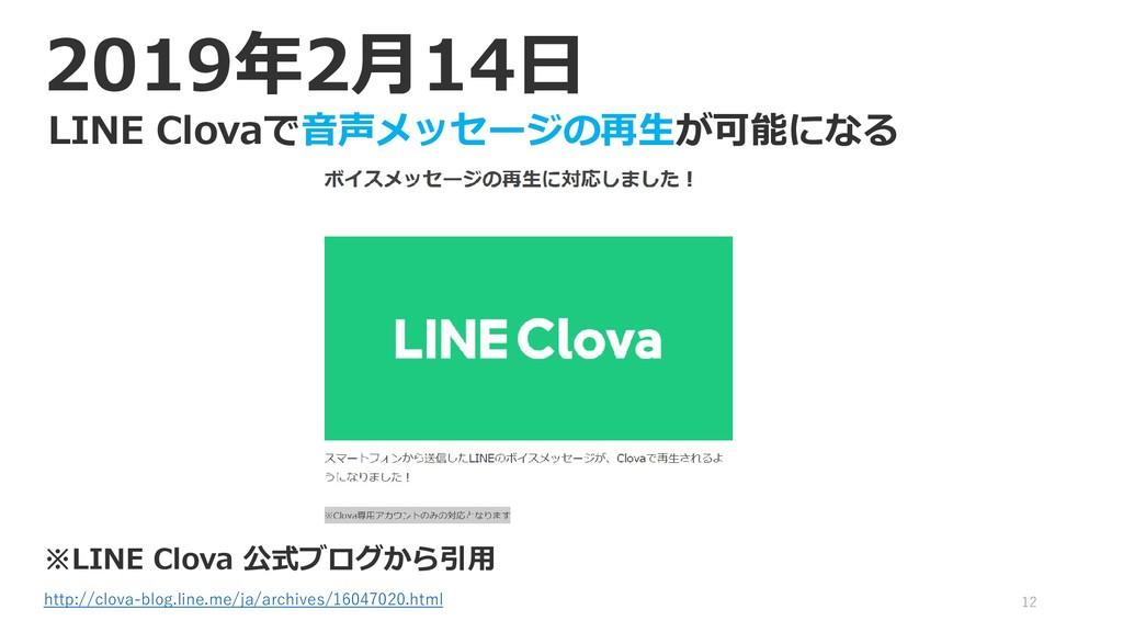 12 2019年2月14日 LINE Clovaで音声メッセージの再生が可能になる ※LINE...
