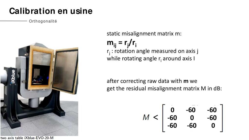 Calibration en usine Orthogonalité static misal...
